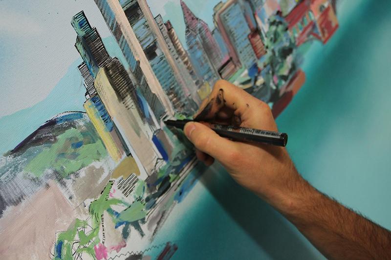 Die Skyline Frankfurt als Graffiti auf Leinwand
