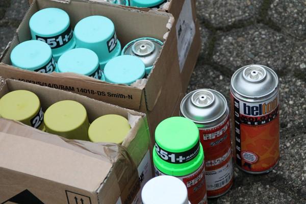 Farbauswahl für eine Graffiti-Auftragsarbeit