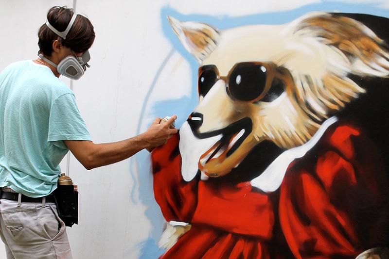 Graffiti-Kunst auf Bauzaunelementen des Zappanale Festivals