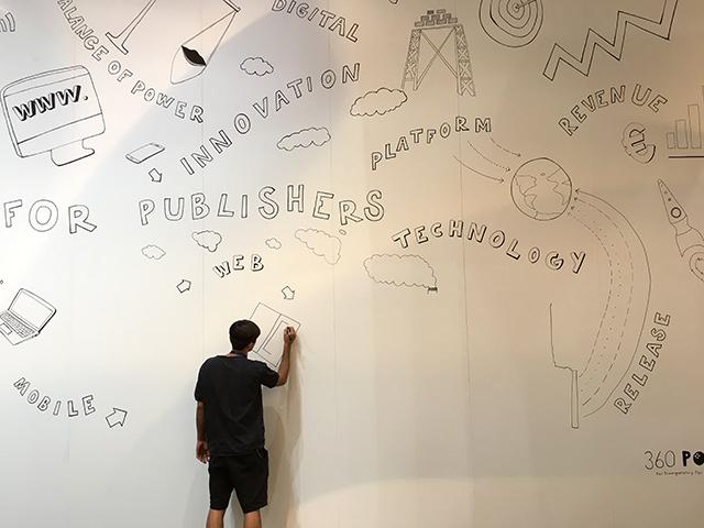 MESSESTANDDESIGN KÖLN DMEXCO: Farbkombo -Live-Graffiti auf der Messe
