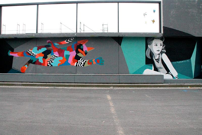 kollaborative Konzeptwand zwischen 2 Graffiti-künstlern in Leverkusen an der Hall of Fame.