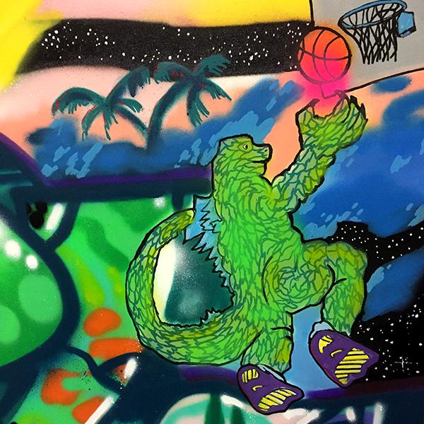 Graffiti auf Leinwand Düsseldorf:Dino beim Basketballspielen