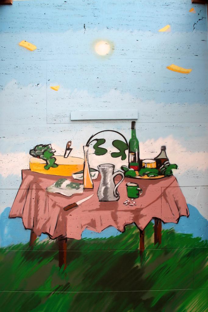 Stilleben, Fühstückstisch als Graffiti-Auftragsbild in Köln